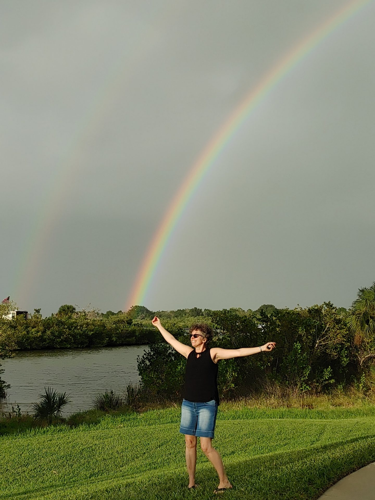 As we were leaving her neighborhood for the last time, mom sent a full double rainbow that stretched completely over the dolphin pier where we sought solace every day over the past few weeks. I don't believe in coincidences. I believe in God and everlasting life.