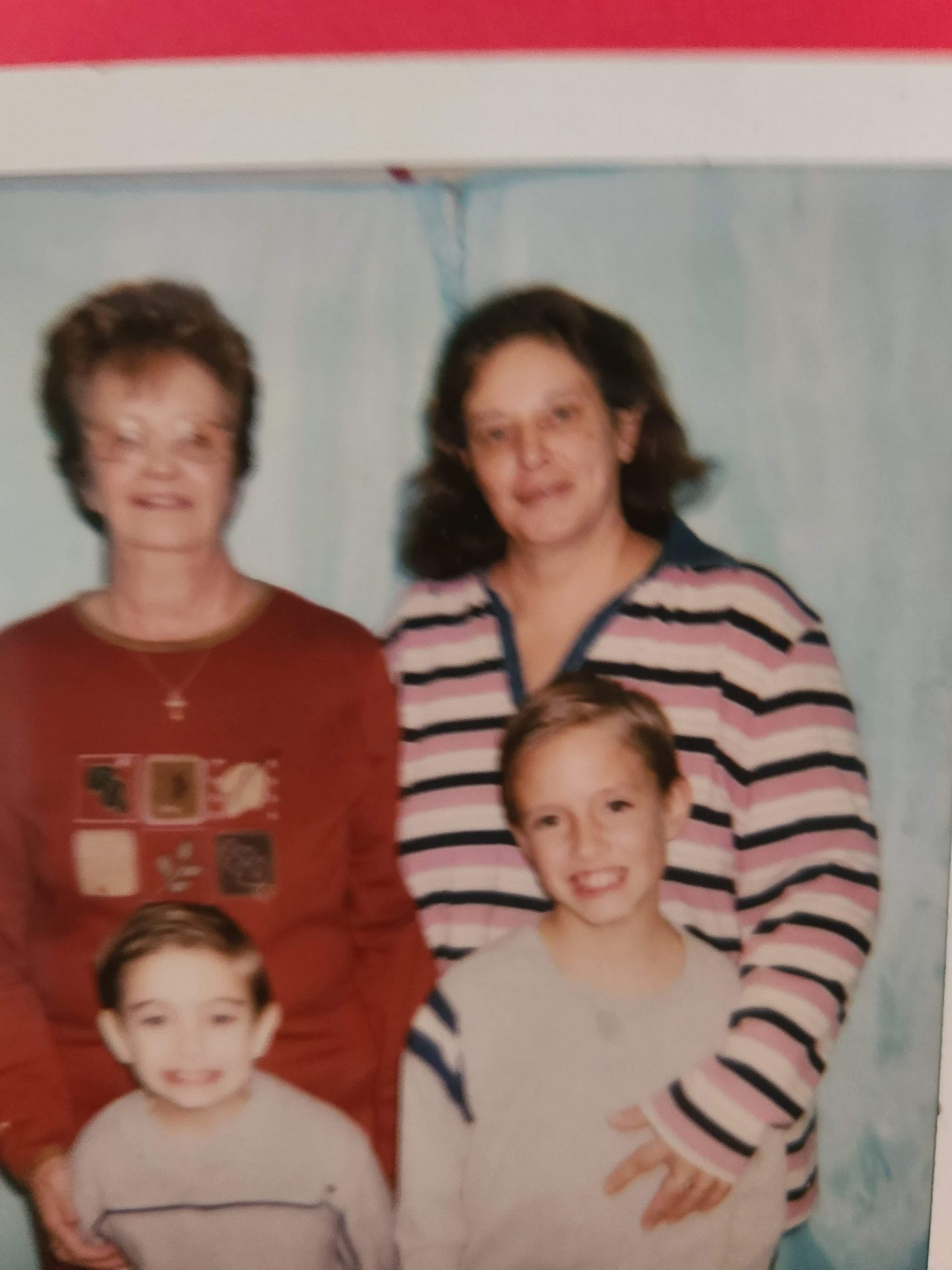 Me my brother Robbie our grandma and our mema your critter bug loves and miss you mema