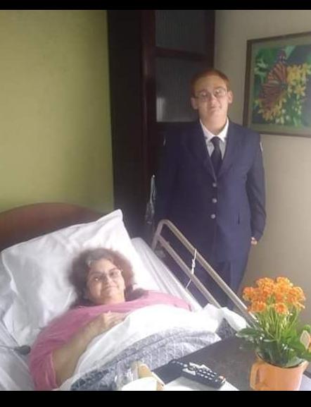 Kevin Harold Sona visiting his Grandma before his AFJROTC awards ceremony