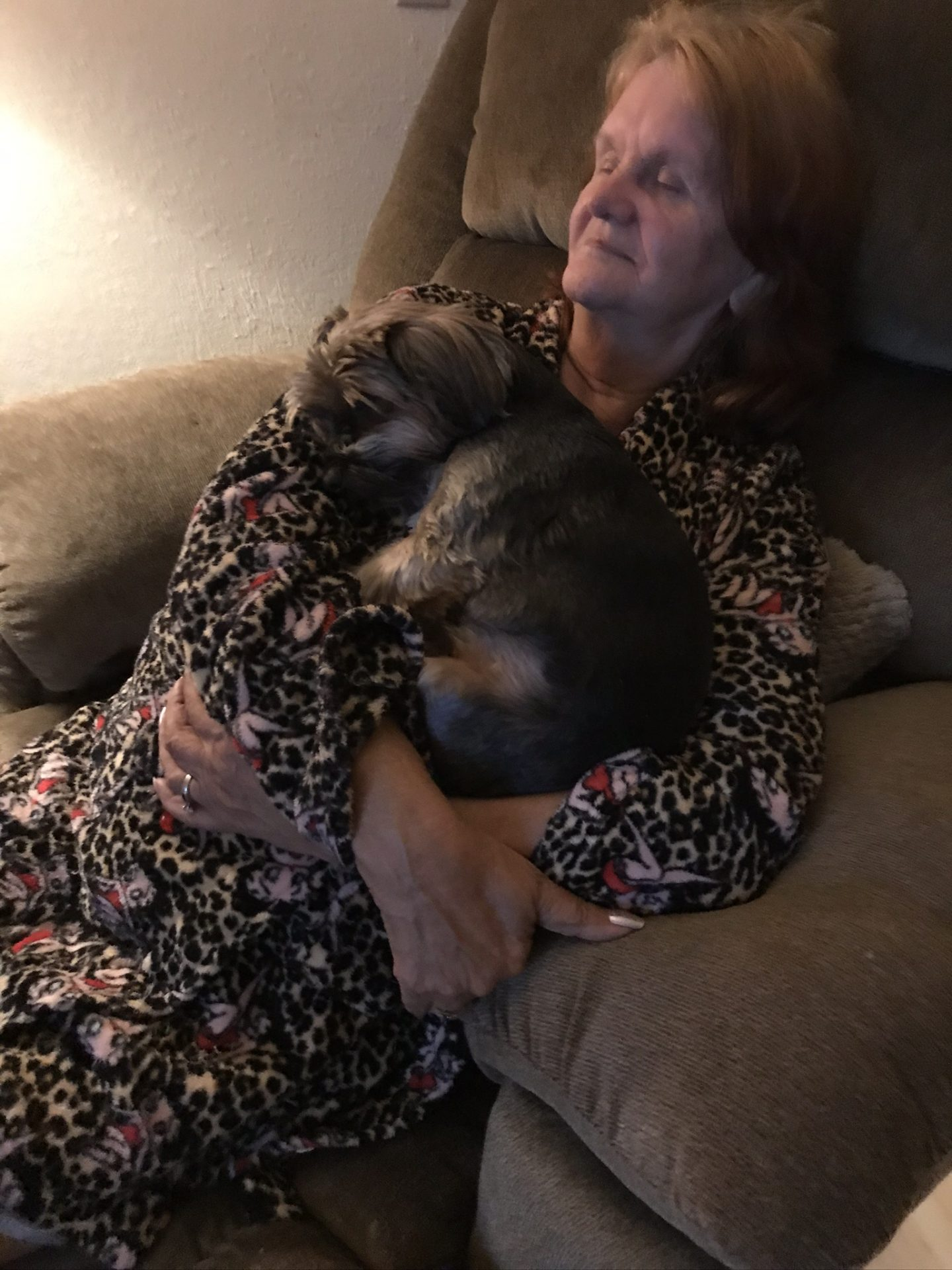 Beth with BooBoo, she loved her little dog with all her heart, BooBoo was her baby girl