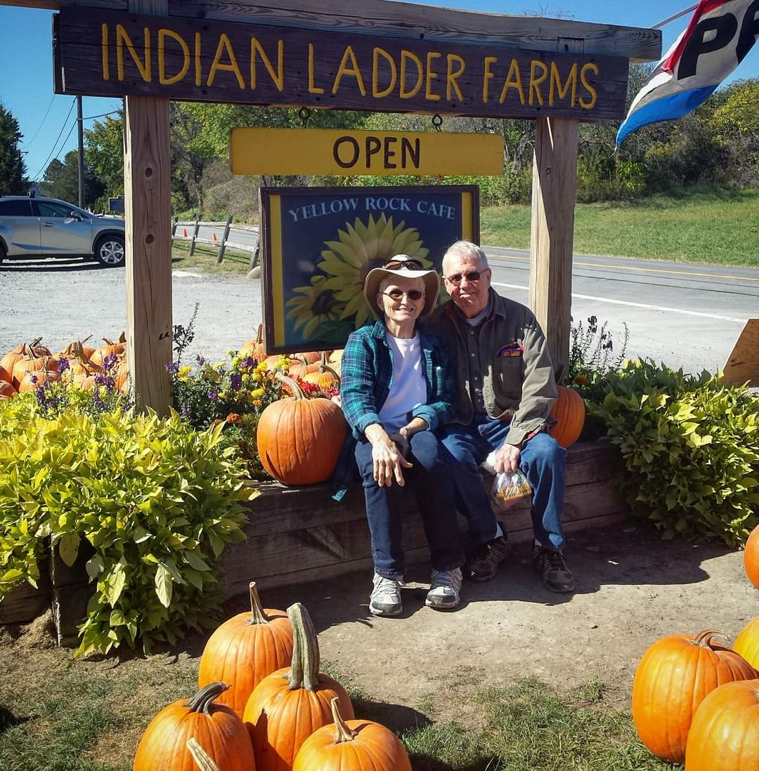 Mom and Dad in the pumpkin patch while visiting Jen in Troy, NY, October 2017.