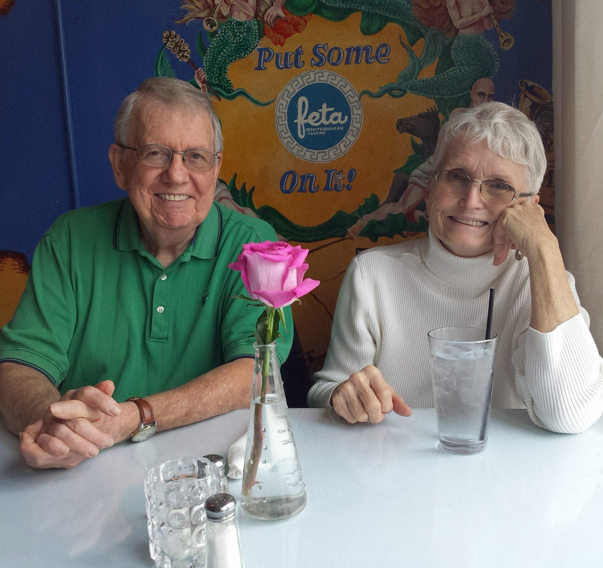 Mom and Dad at Greek restaurant in Ocala a few years ago.