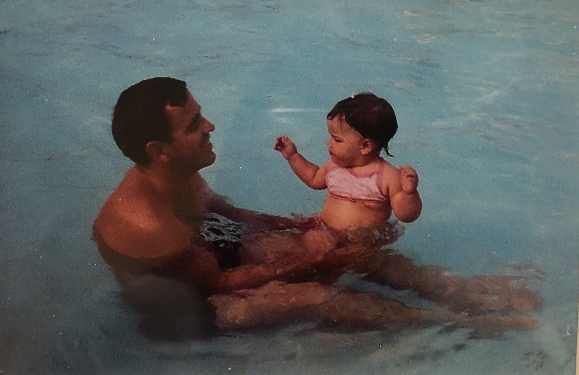 Swimming with Dad. Worthington, Ohio