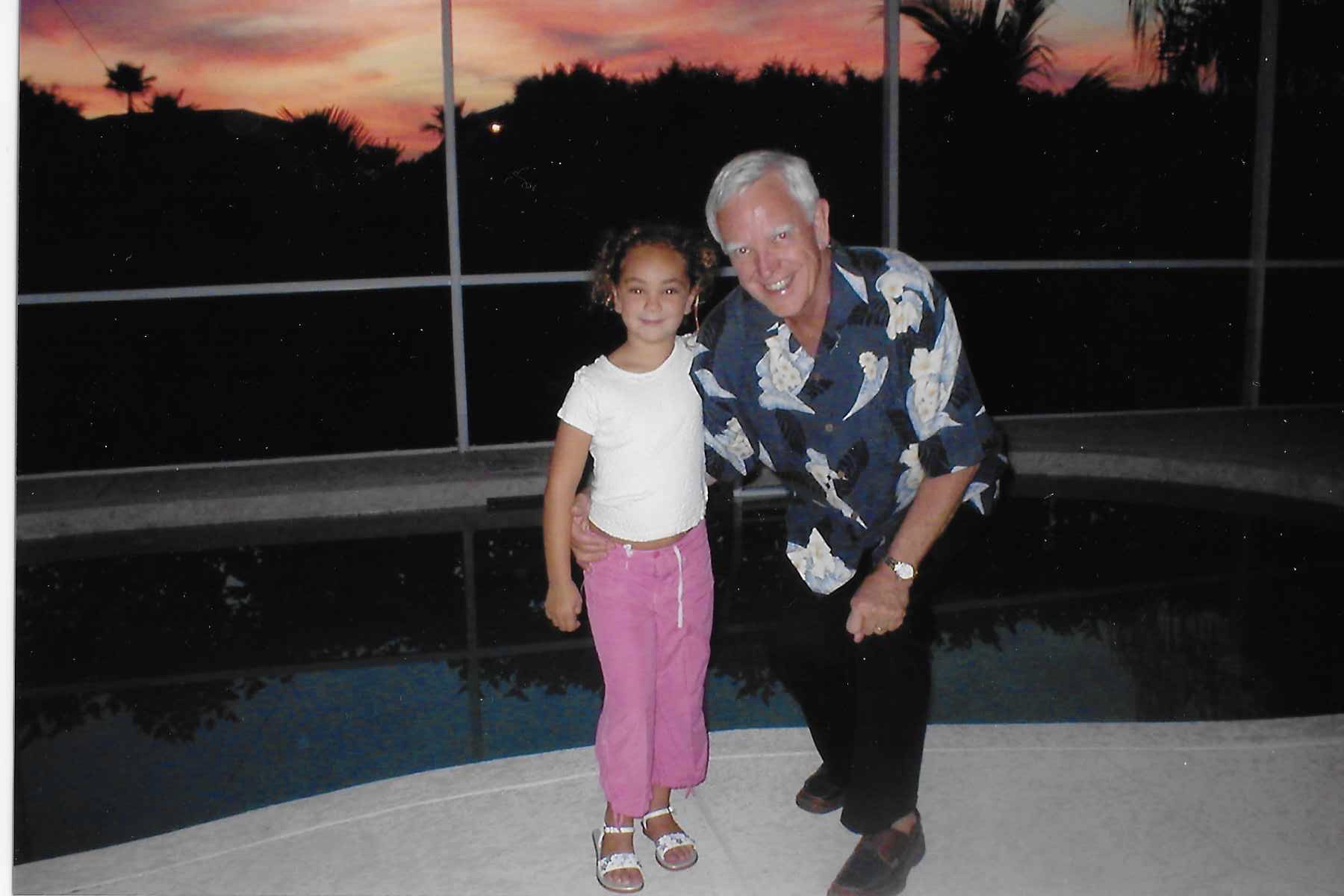 Grandpa with Rachel at Heritage Palms, 2004