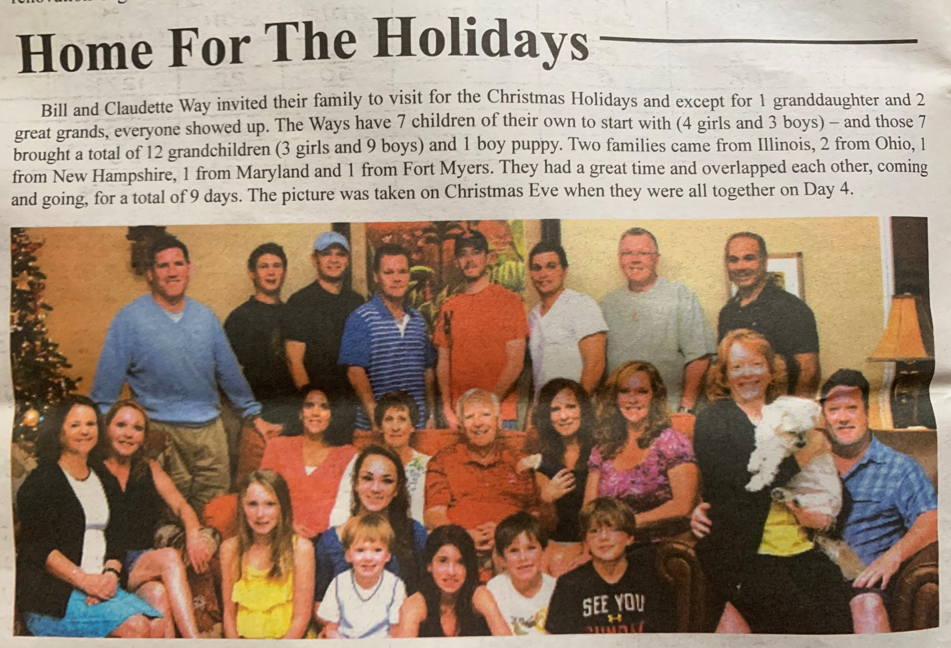 """""""Home for the Holidays"""" published in Between the Palms, February 2013."""