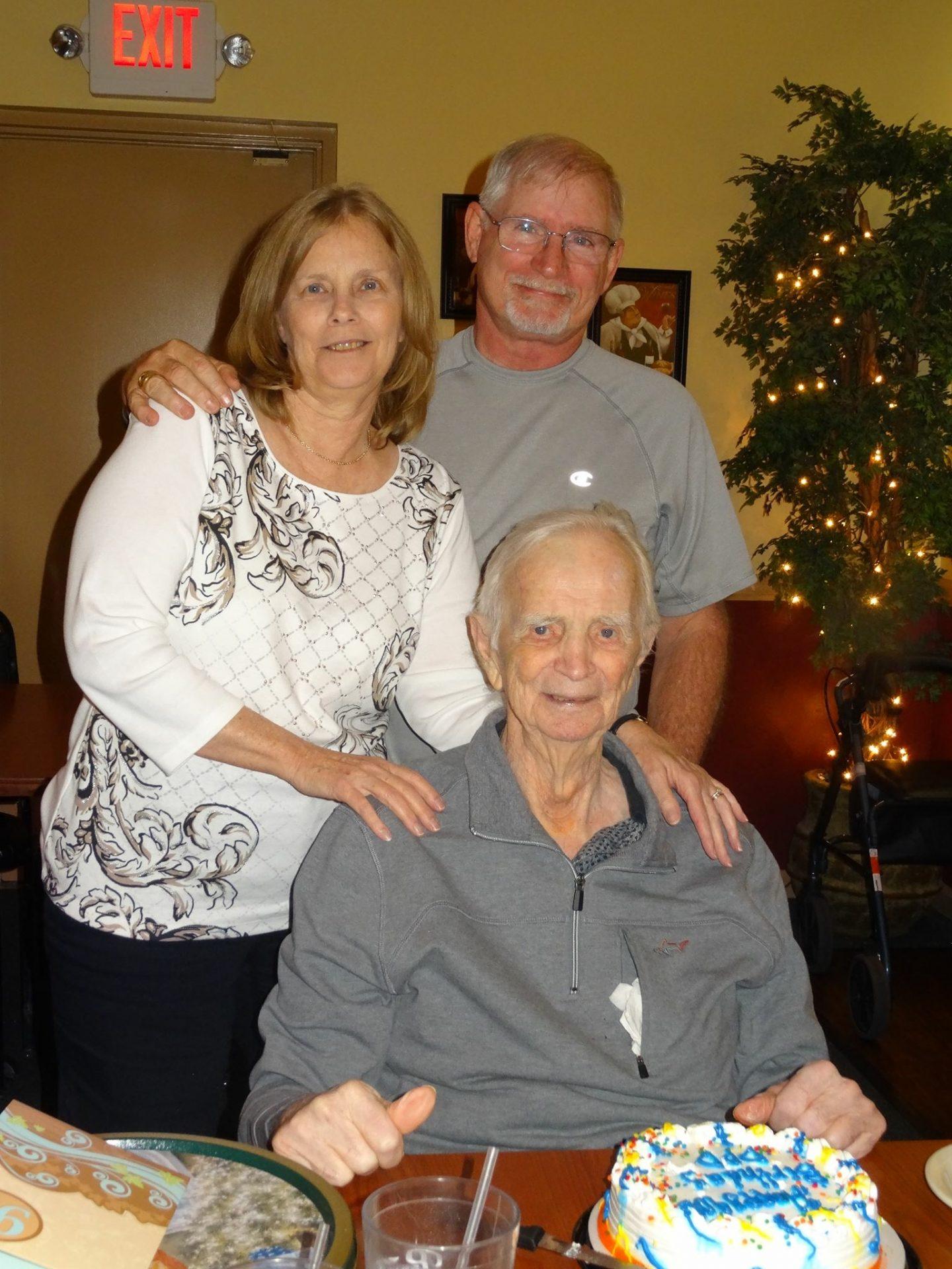 Uncle Dan, Aunt Joanne and Grandpa Lang at Grandpa's birthday dinner in AZ.