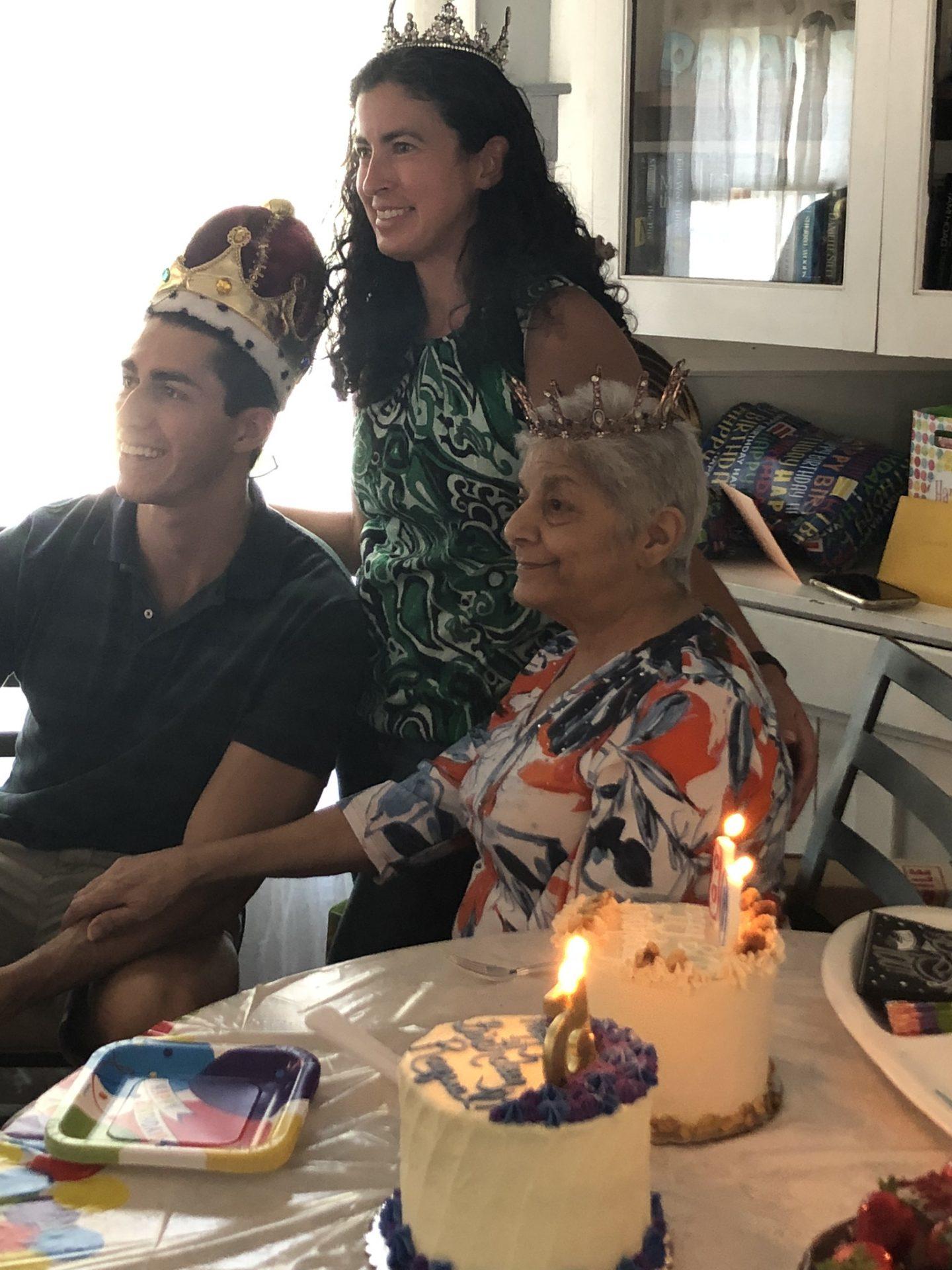 Pat's 80th surprise celebration, also Joshua Lee's and Raquel Dallas's birthday