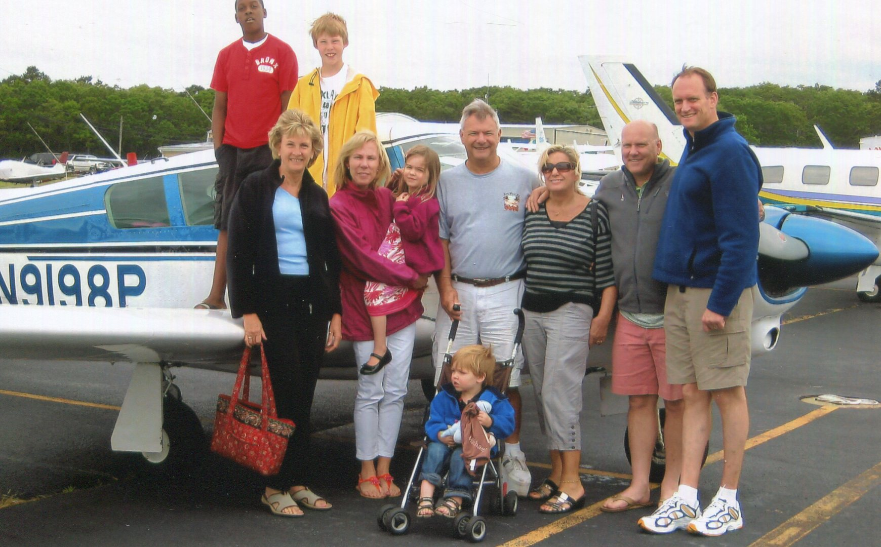 Kris and Inge with cousins at East Hampton, NY airport in June 2012