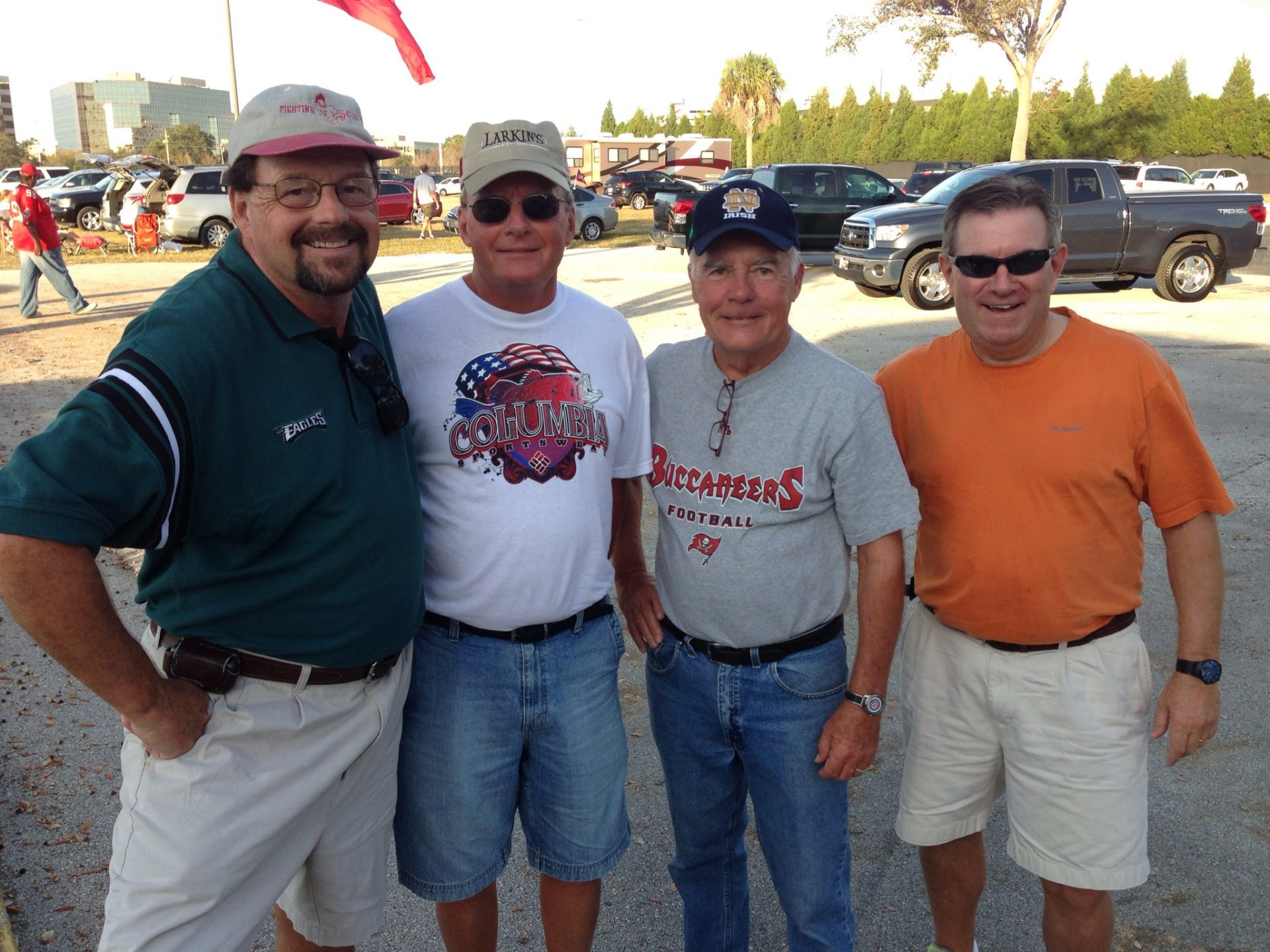 The four amigos from the Village of Piedmont, attending the Eagles - Bucs game on December 9, 2012. L-R Michael Gavigan, Bob Vogel, Pat Murphy and Eric Ehlers. RIP dear friend Michael.