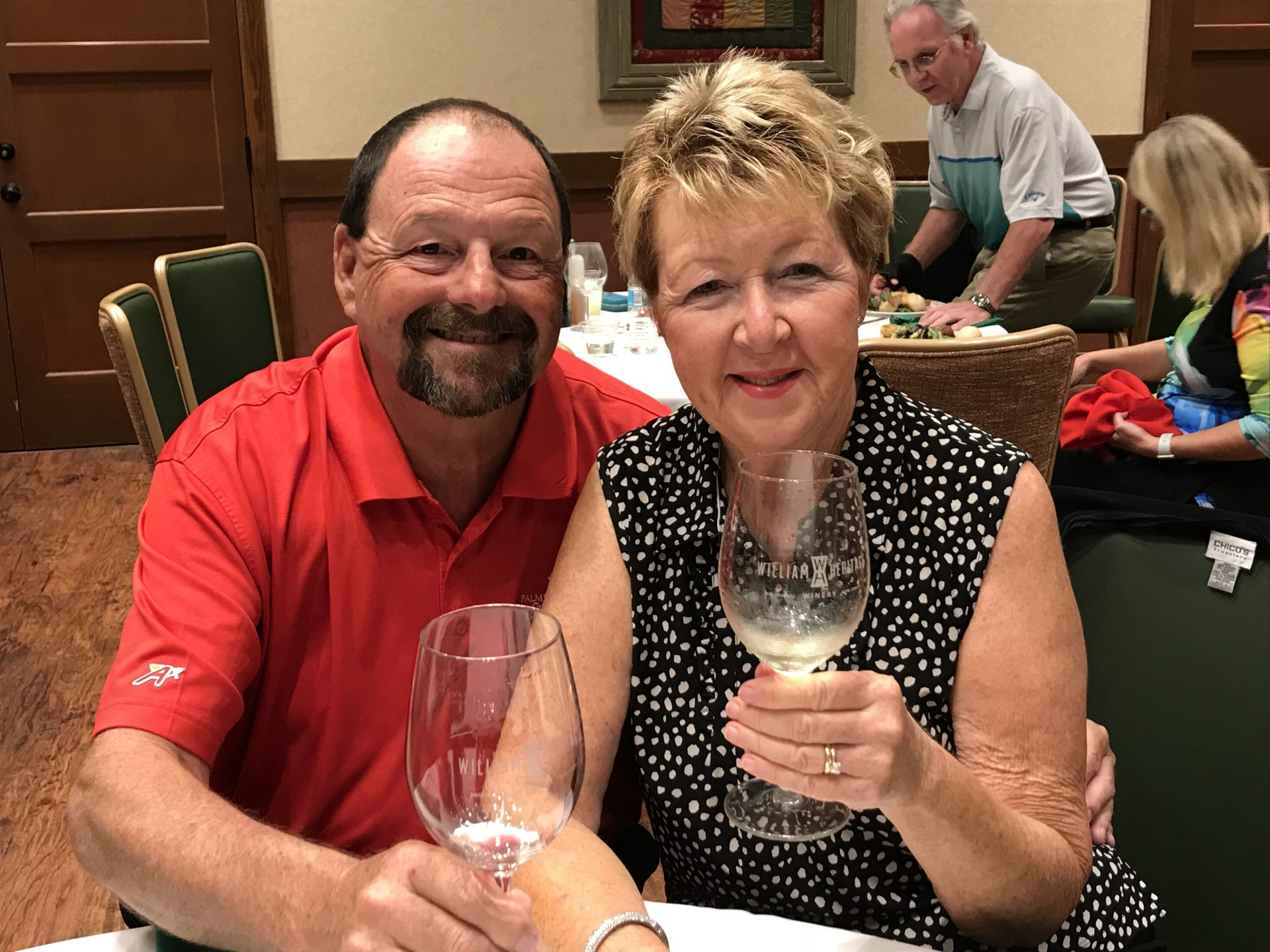 Michael and Jackie celebrating at the Village of Piedmont Christmas Party, December 3, 2017.