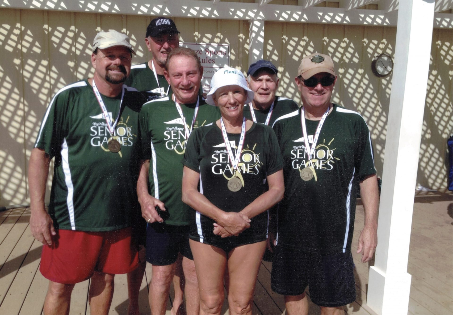 One of Michael's favorite activities, water volleyball. In The Villages Senior Games of 2014, Michael anchored the Gold Medal winning Intermediate team. L-R Michael Gavigan, Larry Cohen, Stu Kaufman, Merilee Fisk, Art Rogers and Eric Ehlers. RIP Michael.