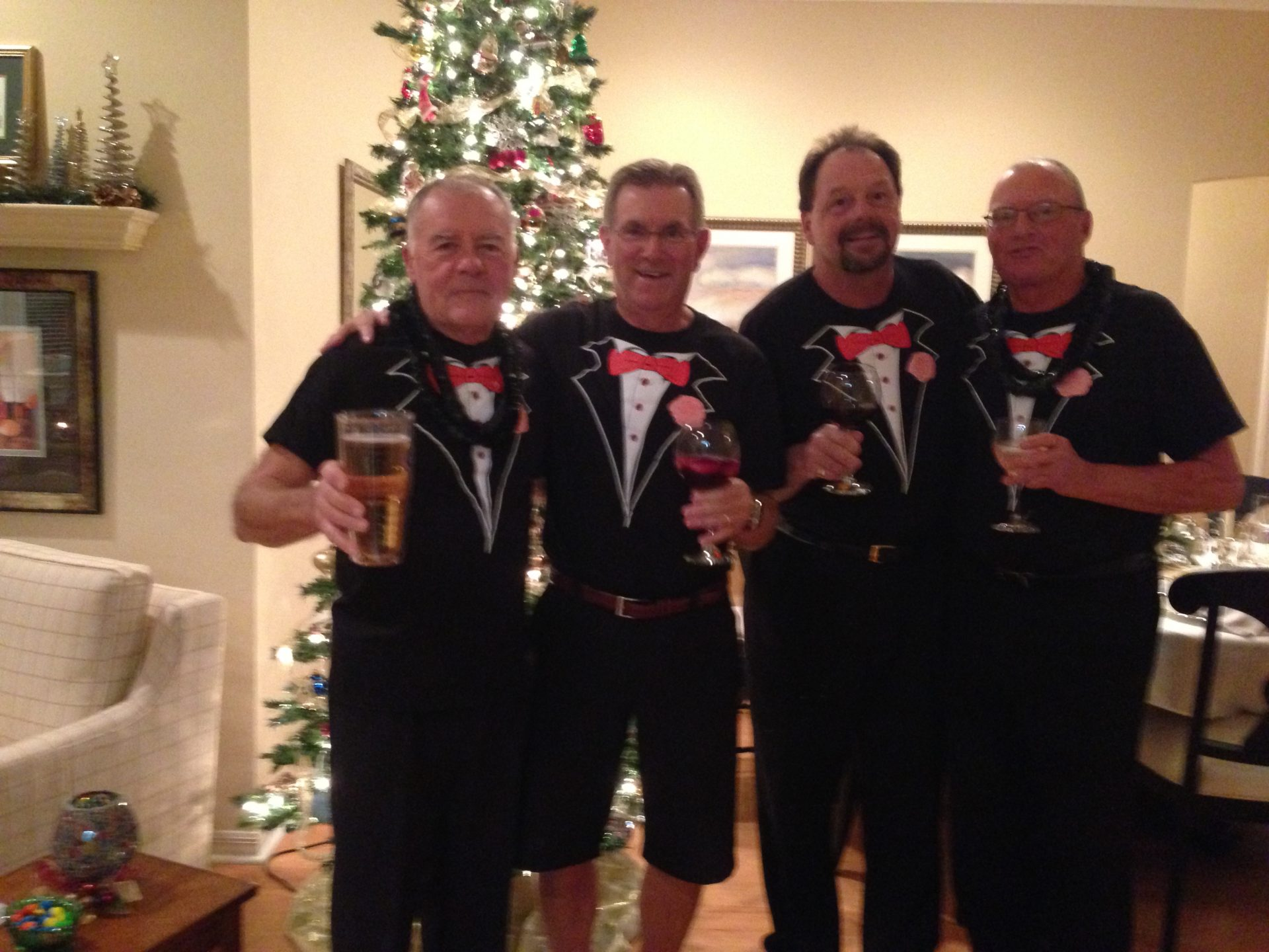 The four amigos of Village of Piedmont celebrating New Year's Eve 2013. L-R Pat Murphy, Eric Ehlers, Michael Gavigan and Bob Vogel.