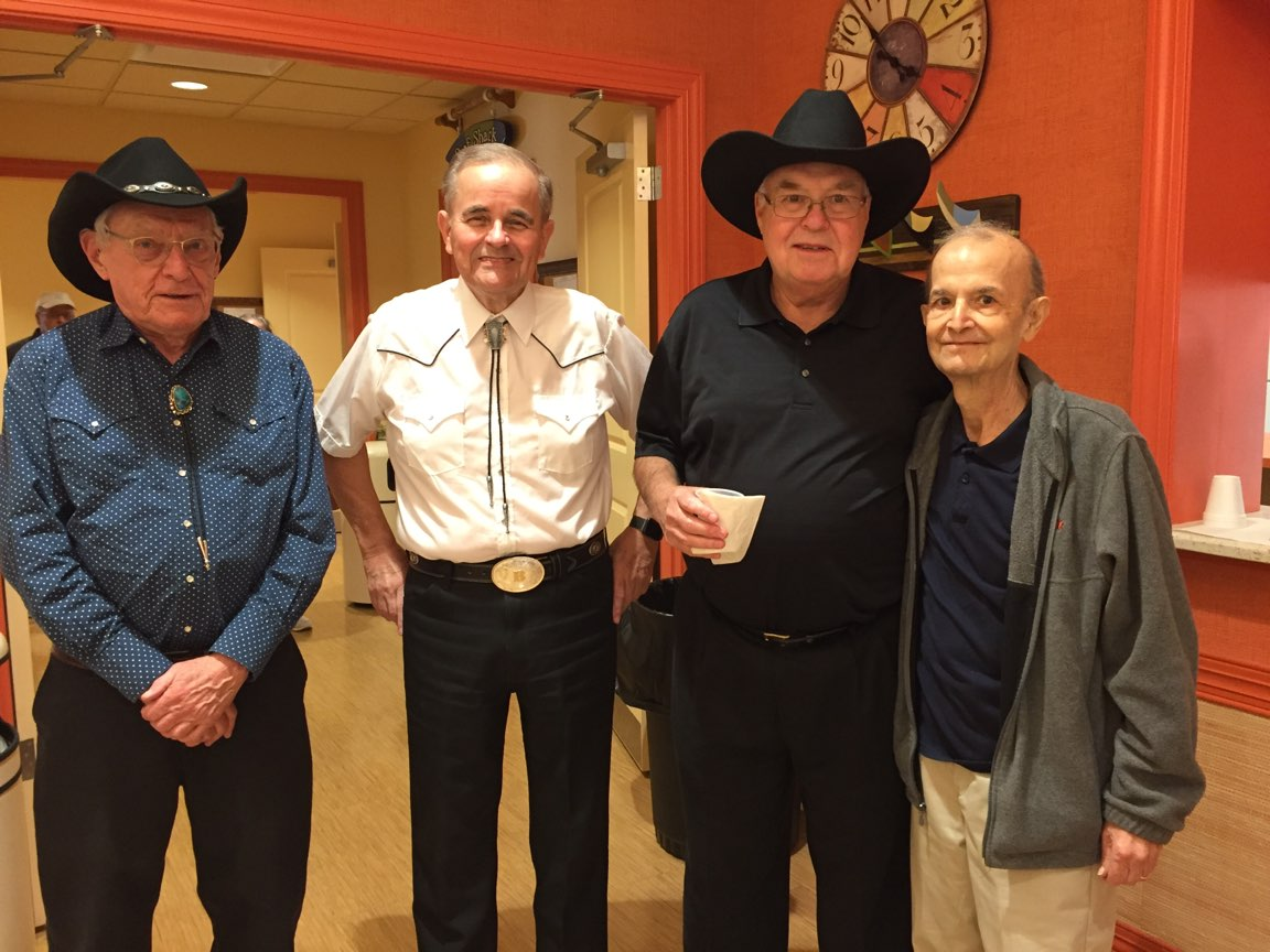 This photo was taken at one of the John B & Friends shows.  Jim is shown with John B, Richard Miles and George Guzzardo.  George passed away not long after this photo was taken.
