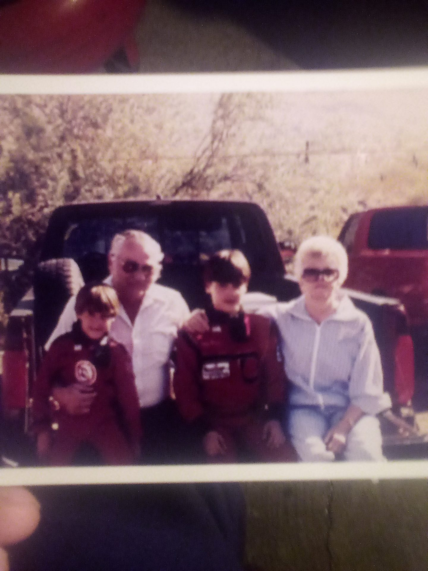 Joe and Joyce Grimes with their grandsons Joey and Jake Grimes at the Quarter Midget track at South Mountain, Phoenix, AZ.