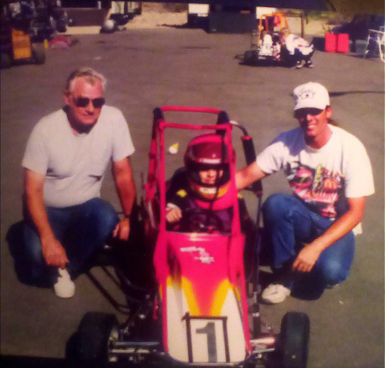 Here are three generations of the Grimes's (Sr., III, & Jr.)enjoying a beautiful day of quarter midget racing at South mountain.