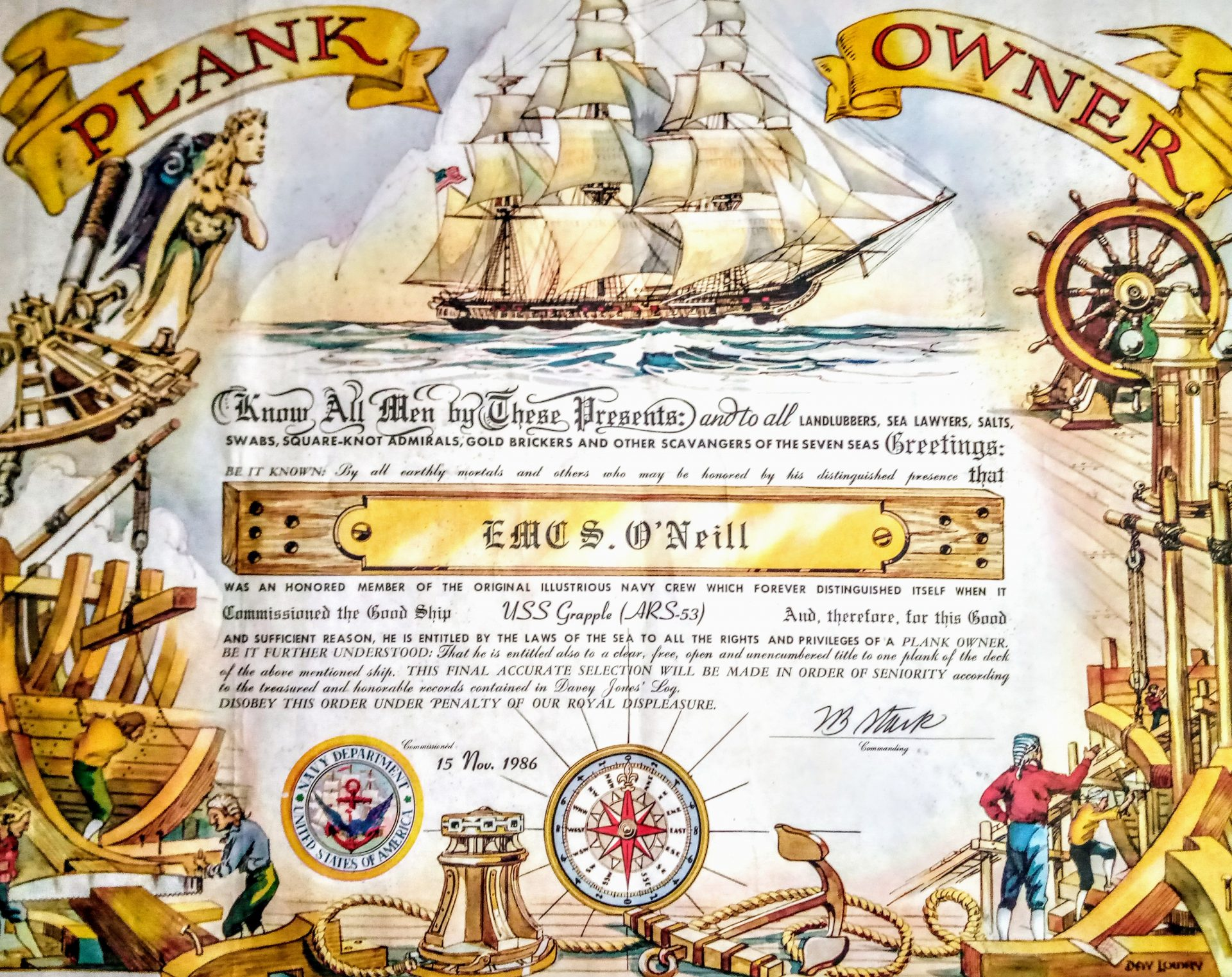 My father was what the Navy calls a Plank Owner, meaning he was a member of a ship's first crew. It is a big deal to help commission a Navy vessel and I am pretty sure dad did it for at least two ships. This is his certificate for the U.S.S. Grapple. He spent weeks in Wisconsin, assisting in the submarine tender's launch. I went to visit and spent a week with dad in Sturgeon Bay. It was a blast. I got to tour the ship, we went to a fish boil, we drove all around the peninsula and I got to see a part of the country I had never seen before. My father always ignited in me a deep curisorty about the world and a sense of adventure. I remember when I was a very young kid-7 or 8-dad had purchased a set encyclopedias for the house. I remember laying in the hallway and reading those books from cover to cover and later talking to dad about what I had discovered. Thank you, dad, for all your inspiration.