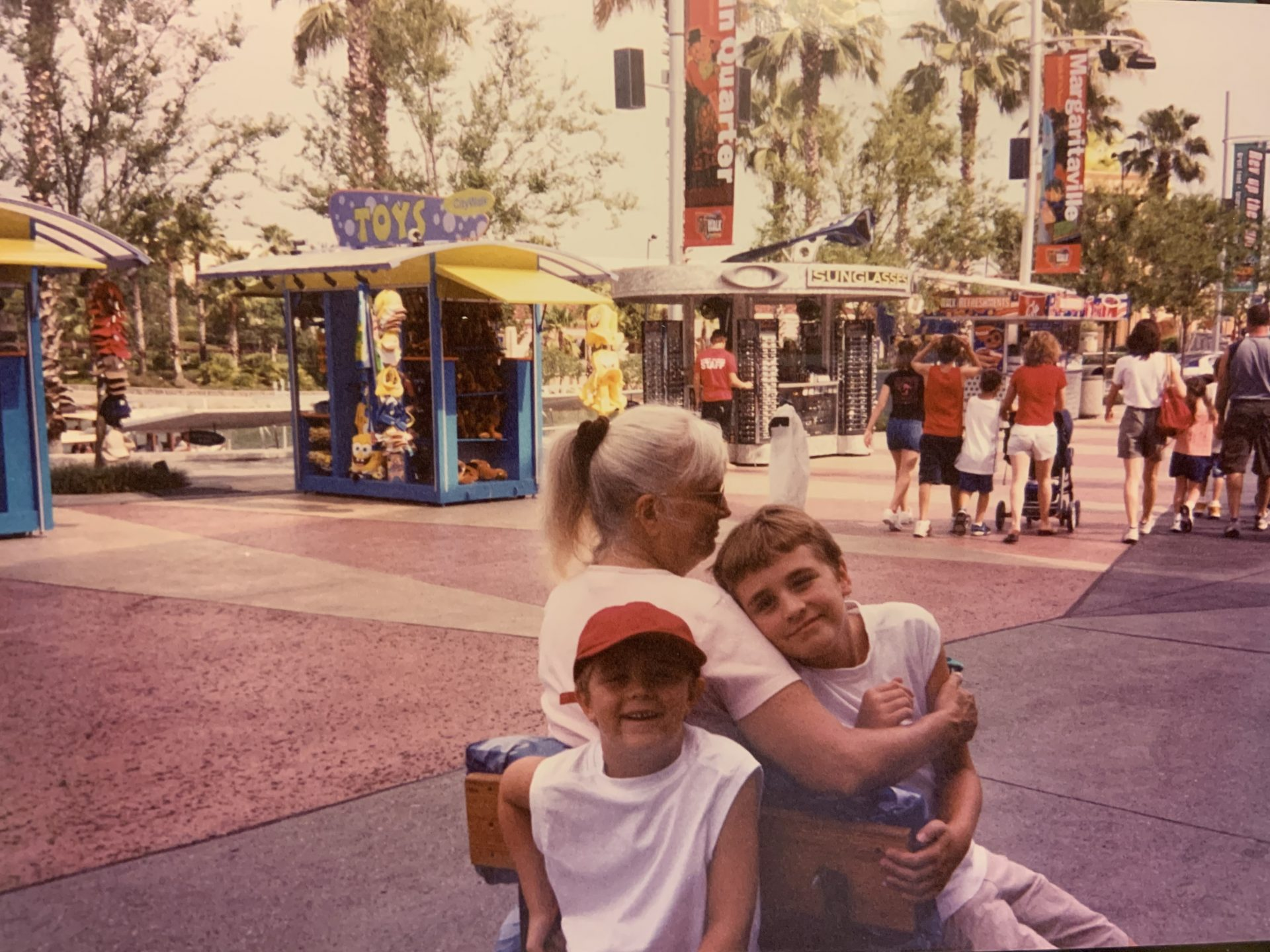 Mom with Johnny & Dale, her grandsons (Tammy's boys) at Universal