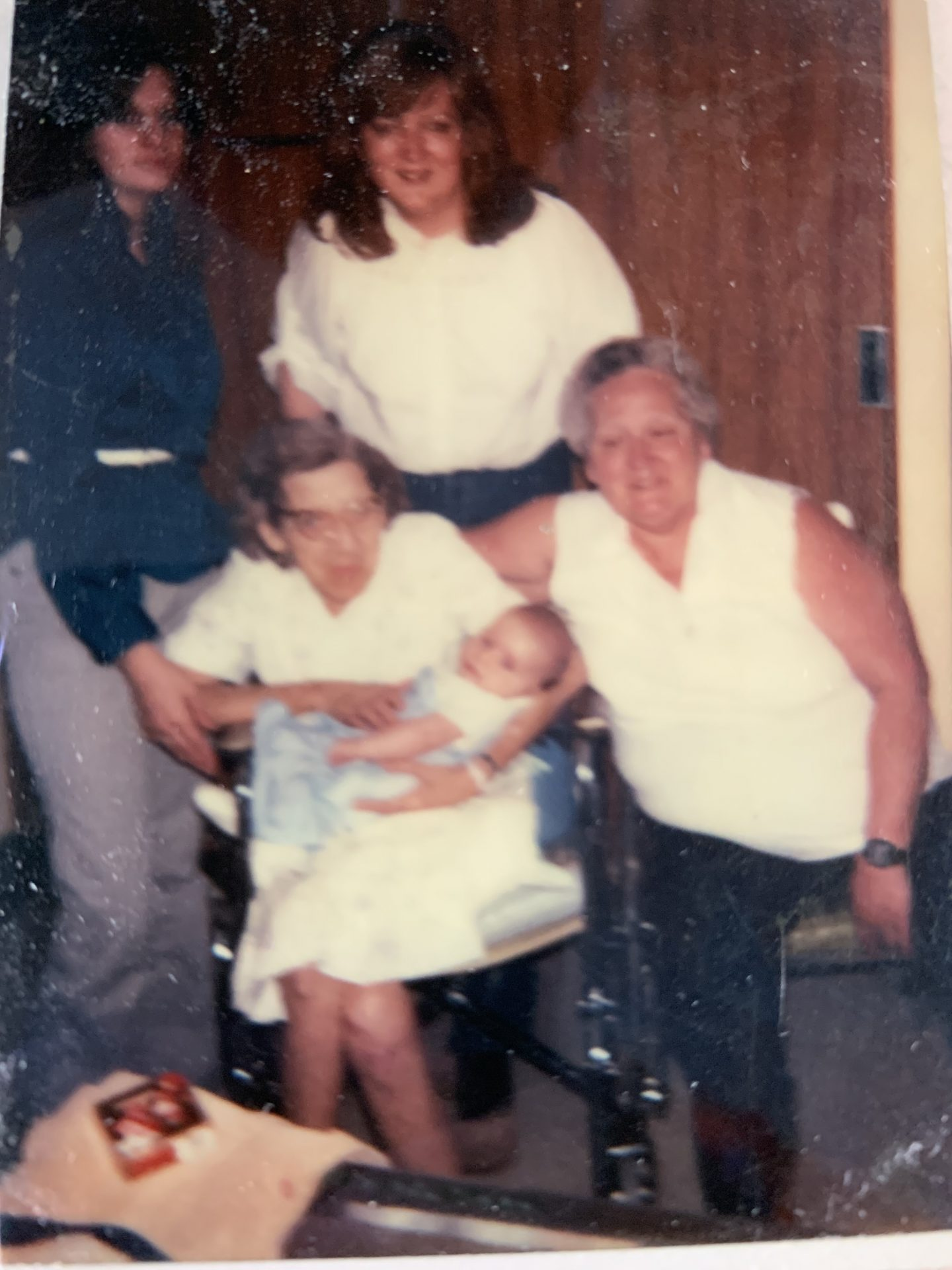 5 generations,  Grandma Hamilton, Grandma Shanahan, Mom, Tracie, and Jason