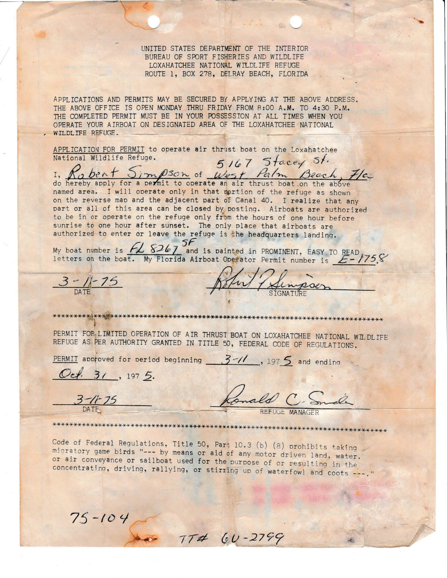 Airboat Operating Permit for Loxahatchee Wildlife Area  1975
