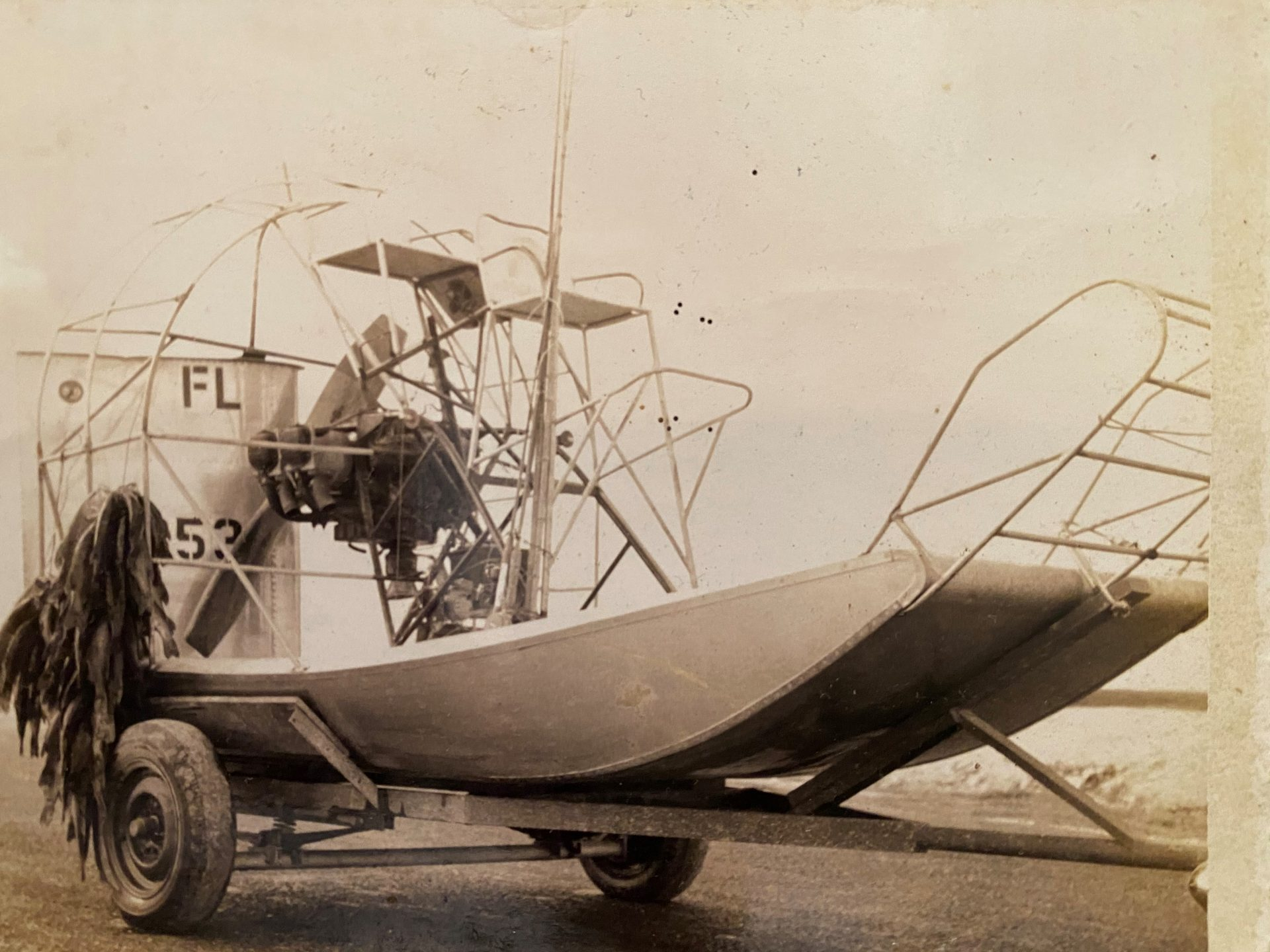 Airboat with stringer of fish 1