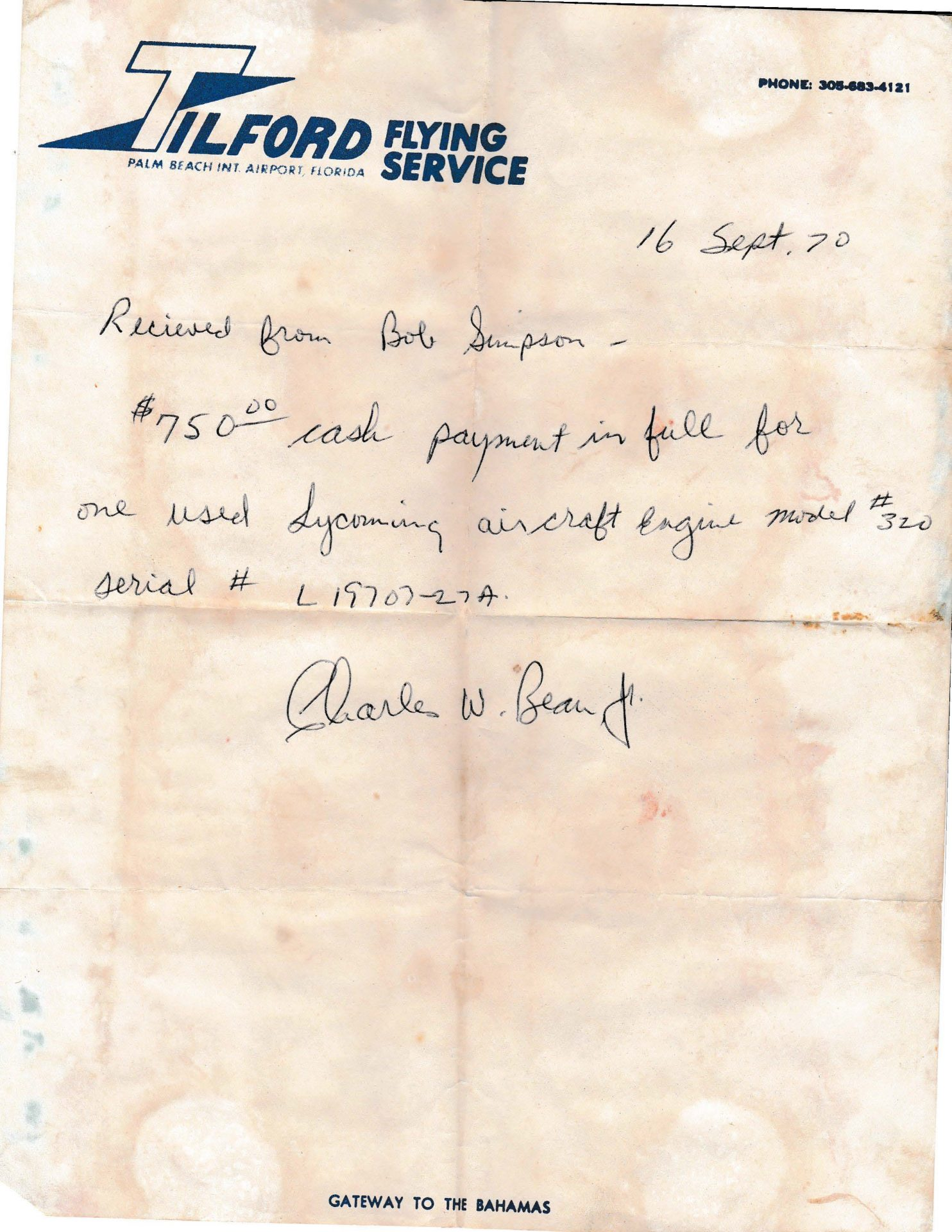 Aircraft Engine Receipt from Tilford Flying Service ,  West Palm    1970