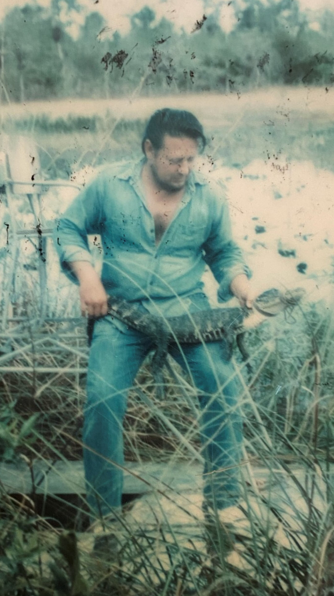 Uncle Bobby with an alligator