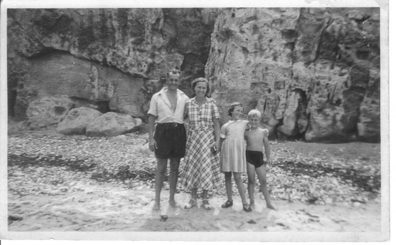 Harry, Elsie, Kay and Colin at the beach 1950