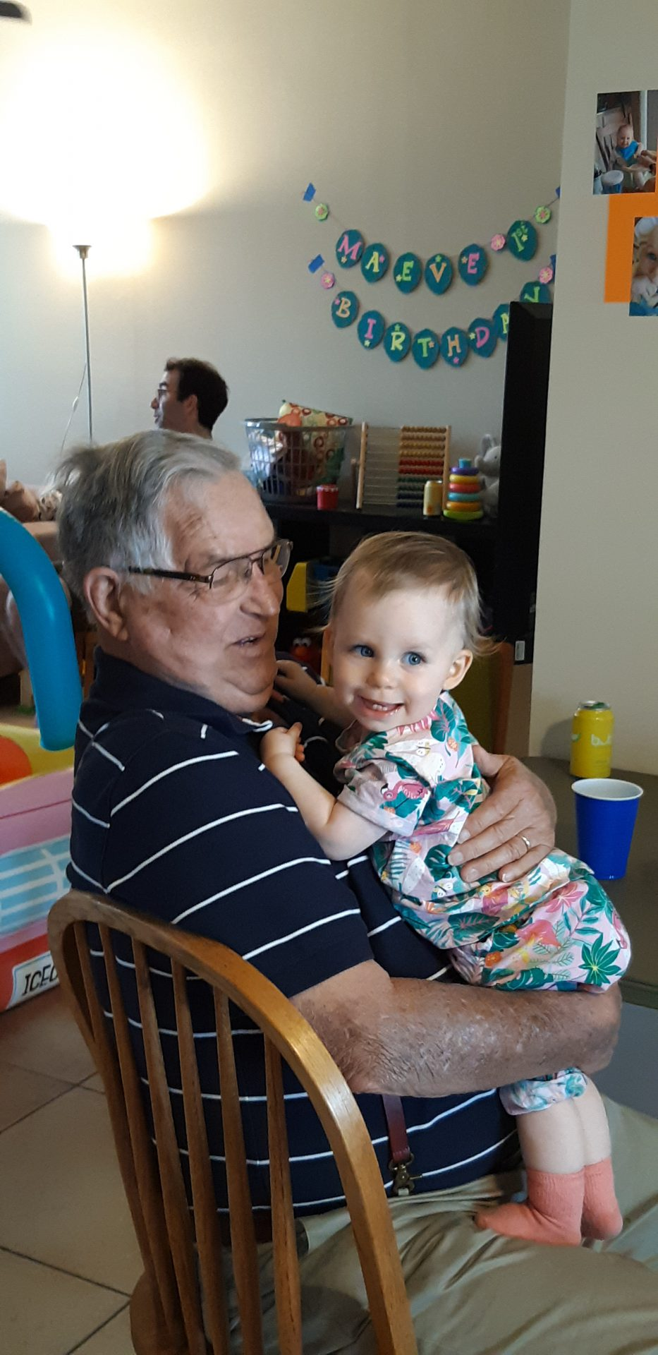 Dad (Pap Chuck) with his great granddaughter on her first birthday. <br />