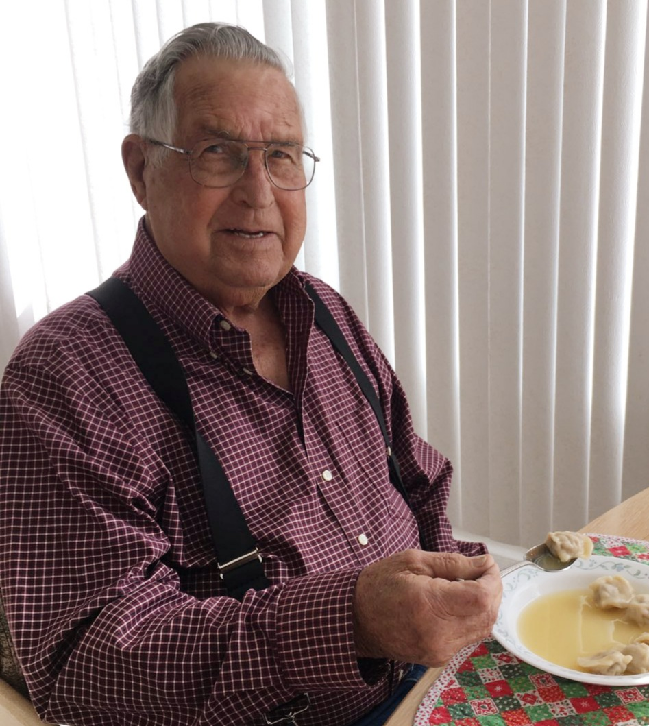 My Dad with one of his favorite meals my Mom makes.<br />