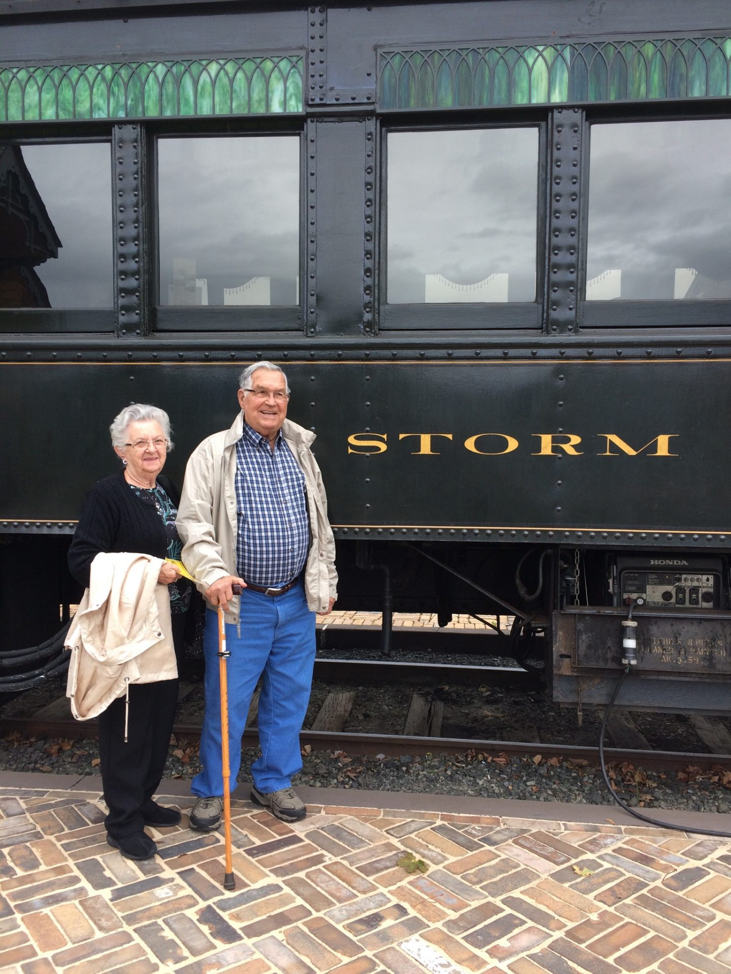 Dad taking a ride with my Mom...apparently the train was named after him.<br /> Barbara