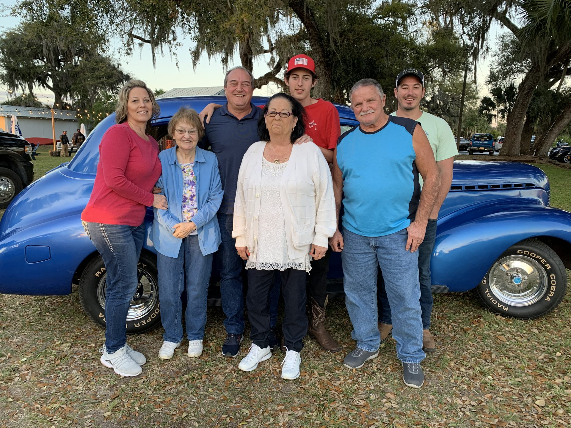 Mom's 83rd Birthday, I took her in my 1940 Chevrolet. She said riding in it brought back a lot of old memories. In photo is my wife Brenda, son's Jacob and Derek, Mom and Brenda's Mom and Dad Ronald and Kathy Wheeler.