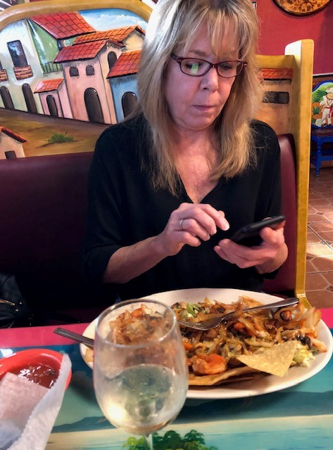 At dinner with Mary. She LOVED her fish tacos!