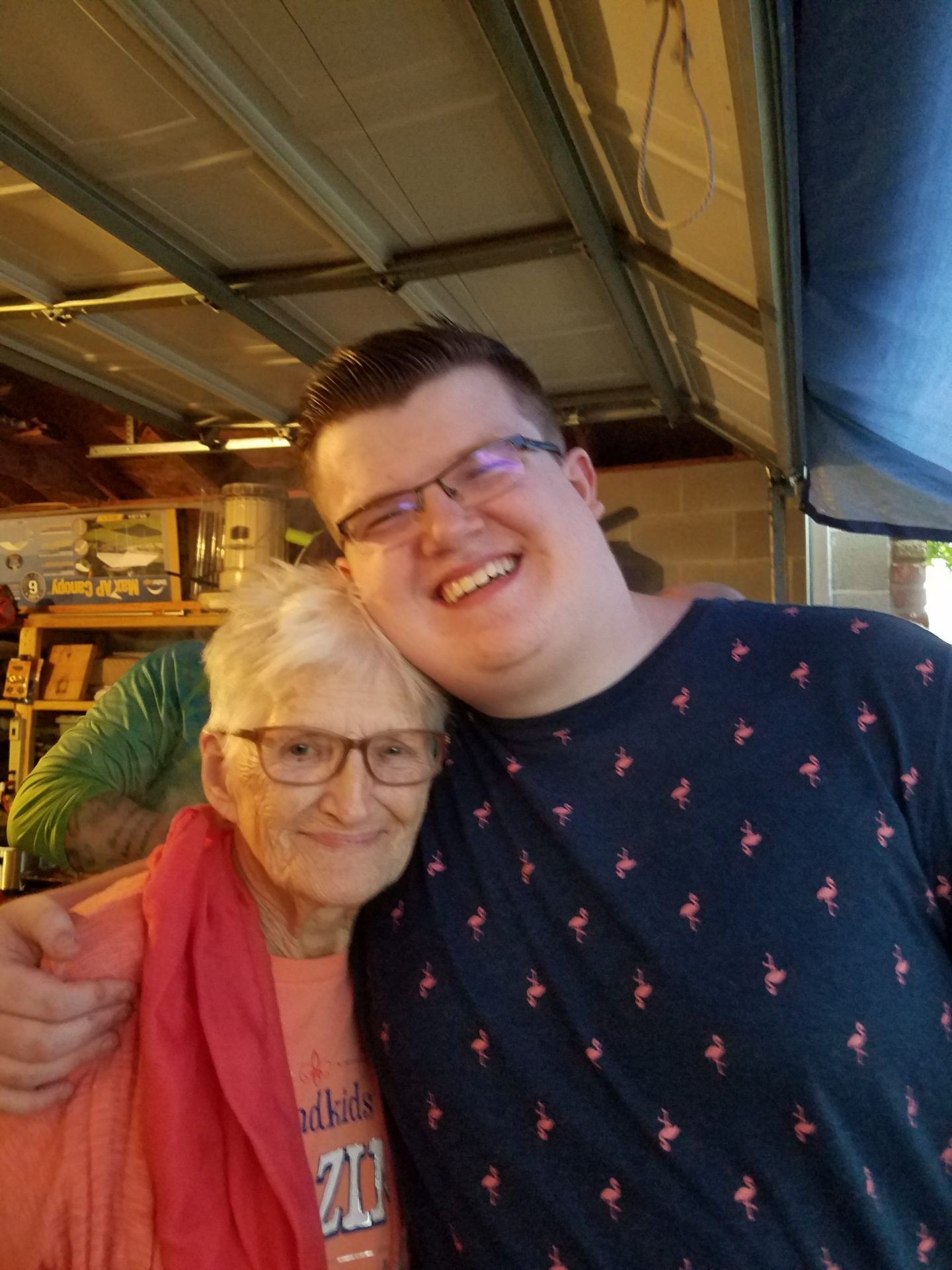 She wanted to hear him sing My Old Kentucky Home at the Derby party. This was taken afterwards....her smile says it all.  Wonderful lady who will be missed by so many.