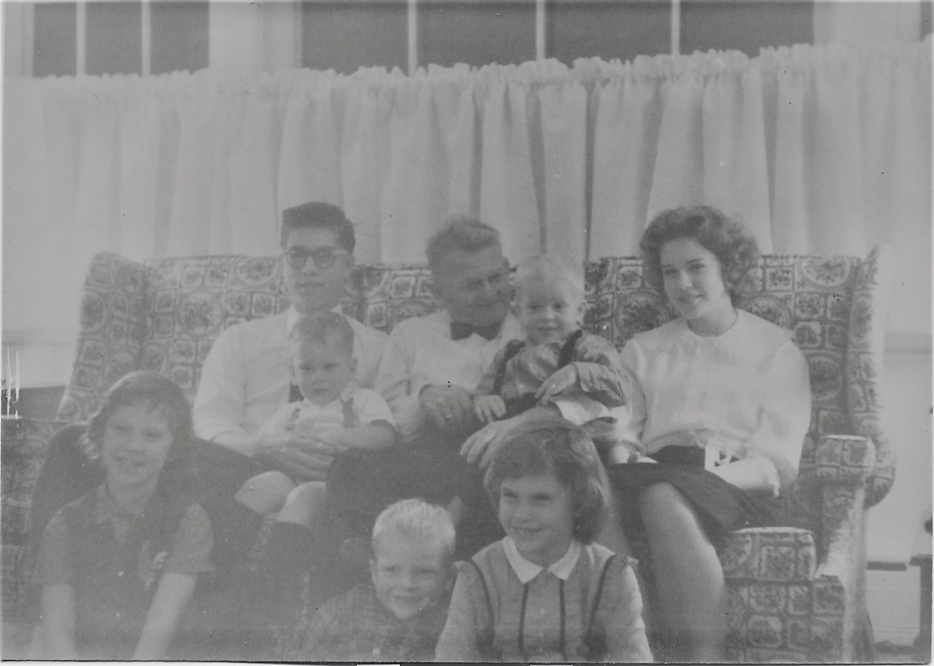 Karen with Grampy Kindberg, her Sibs and her cousins