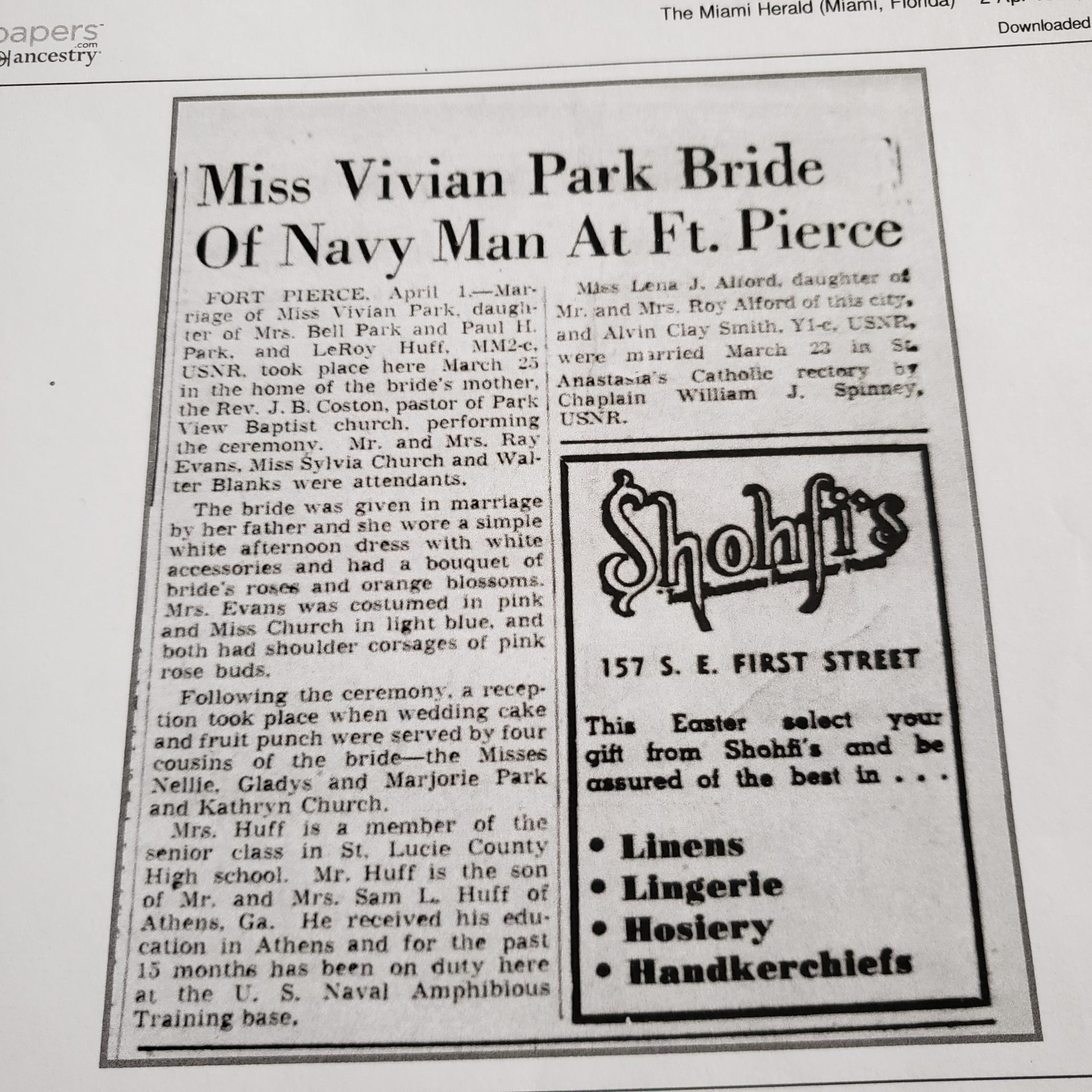 My Great Aunt Vivienne's wedding announcement.