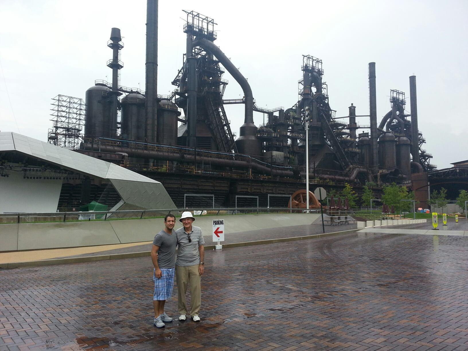 Steve and Grandpa at the Steel Stacks in Bethlehem in 2013