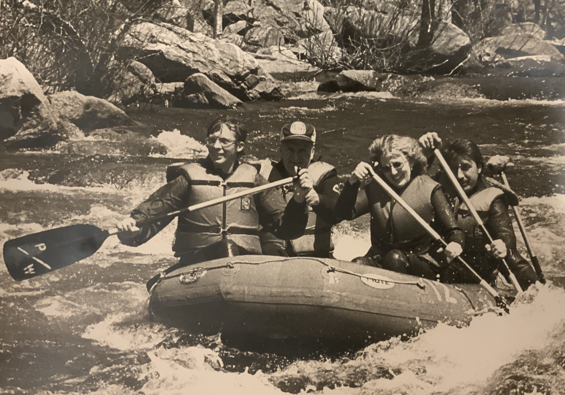 This shows Sharon and I Rafting. Just one of many things she got me to do.