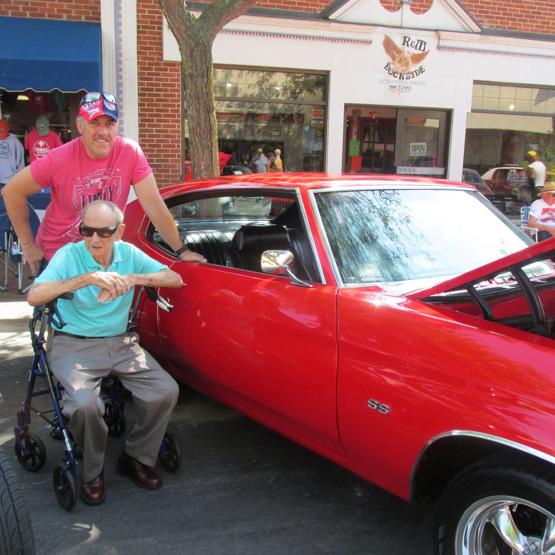 Rodney Bergeron and Dad, Dick Bergeron, at Tawas City Car Show, July 14, 2020