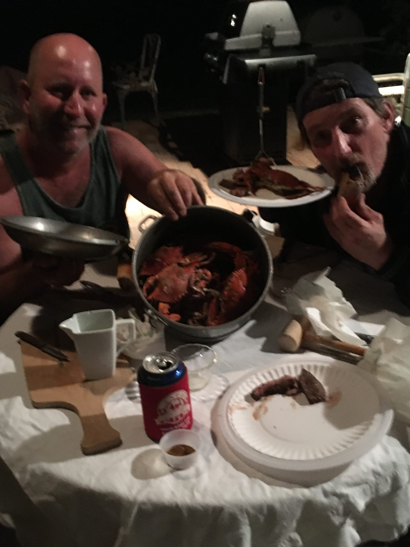 Blue crab night with David Hughey during beginning of Covid shutdowns. Crab harvested from Spruce Creek FL.
