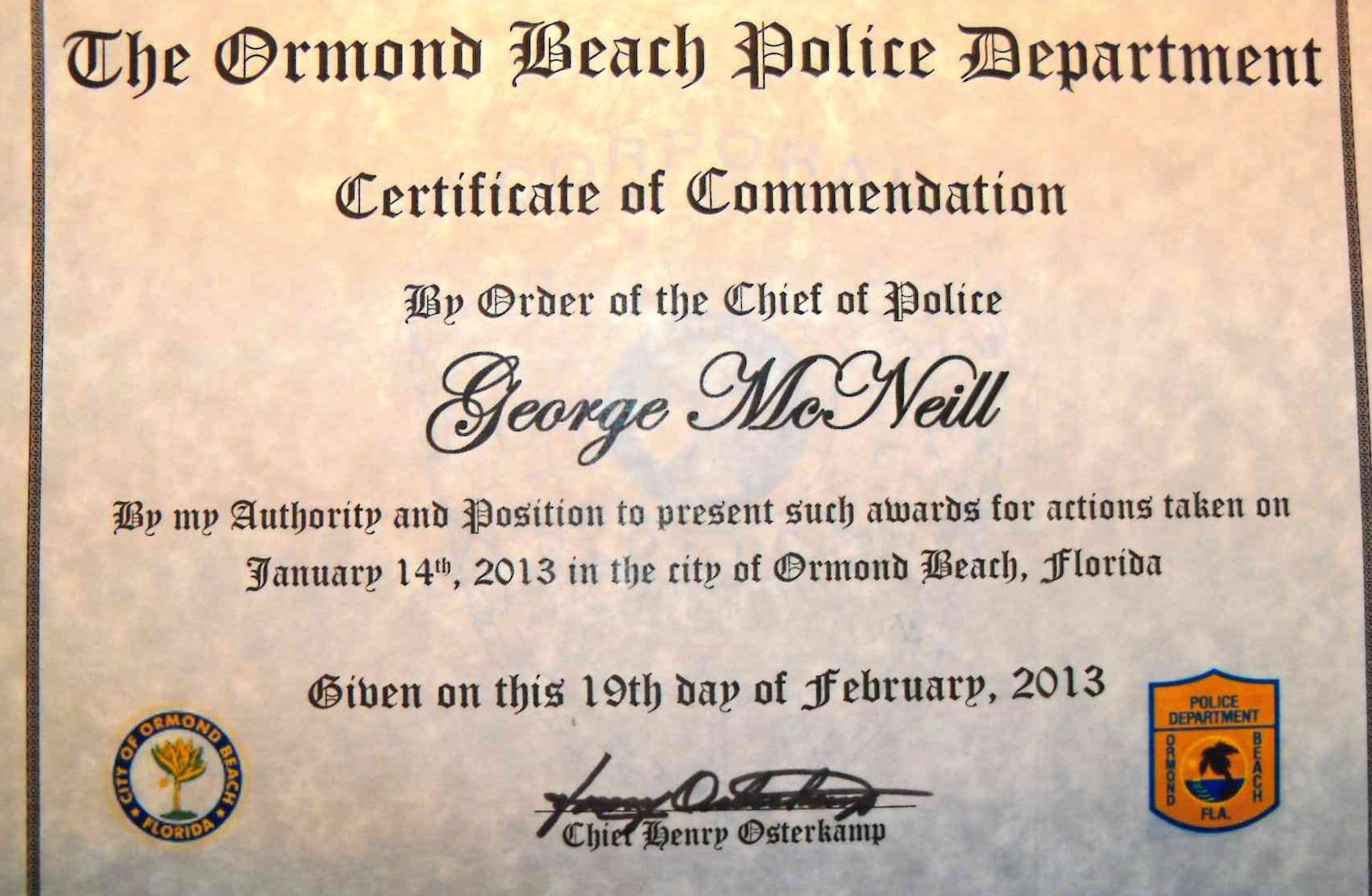 Certificate of Commendation Ormond Beach Police Department