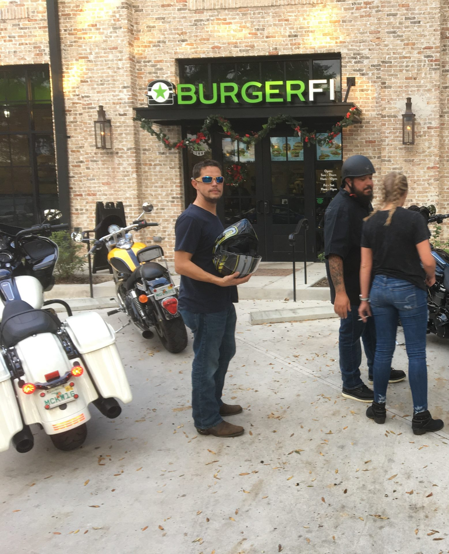 Stephen riding Harleys with Michael, Rob and Monica.  Stopping for lunch.