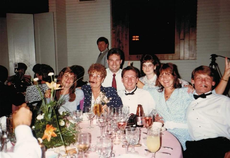 Fischer's and Terry's<br /> at Laura's wedding <br /> April 1990