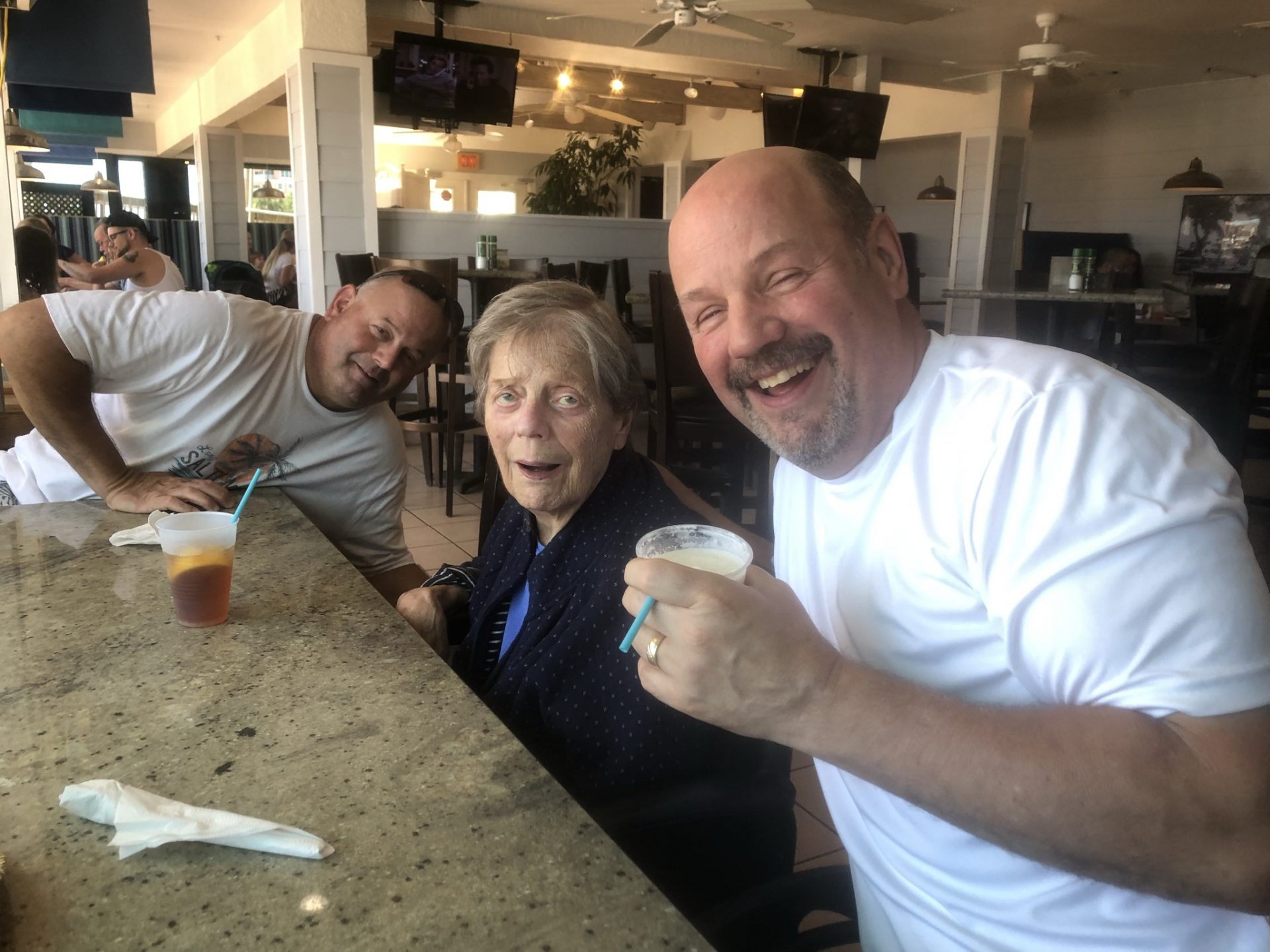 This was a nice time taking her to the beach and partying with hers boys. Phil was taking the picture.  We enjoyed this day together. Marty and Mickey did an amazing job taking care of our mom during the time she was a Floridian!