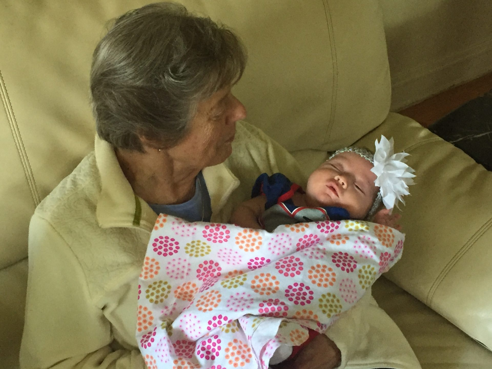 This is the first time she met her great granddaughter, Amelia. She was very comfortable having Great Grandma D holding her. My mom was a special lady.