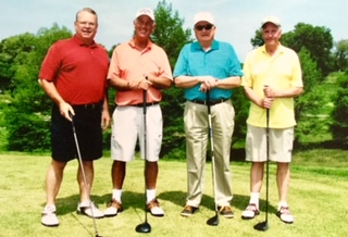 A picture of one of the many great times we had playing golf in Kansas with Byron's many friends. He was always smiling. This photo is left to right, Byron, Gary, Dick, and Bob. We played many courses and Byron often won with his long drives.