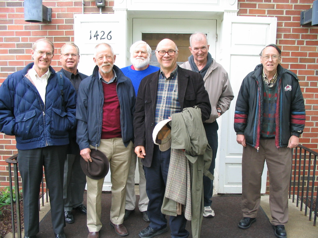 """Byron lived at Pearson Scholarship Hall during his years at Kansas University (KU) as an undergrad.  On Saturday, May 4, 2013 seven """"Pearsonites"""" gathered at the Hall for an informal reunion.  The photo shows us near its front door, with Byron second from the left.<br /> <br /> He and Sara were living in Kansas City at the time.  Some of us had traveled non-trivial distances to attend, and in his typical gregarious fashion Byron invited us to spend Friday evening (and overnight) at his home.  Looking back to the reunion and - further - to the years at KU, I remember Byron as one of the most personable guys I have known."""