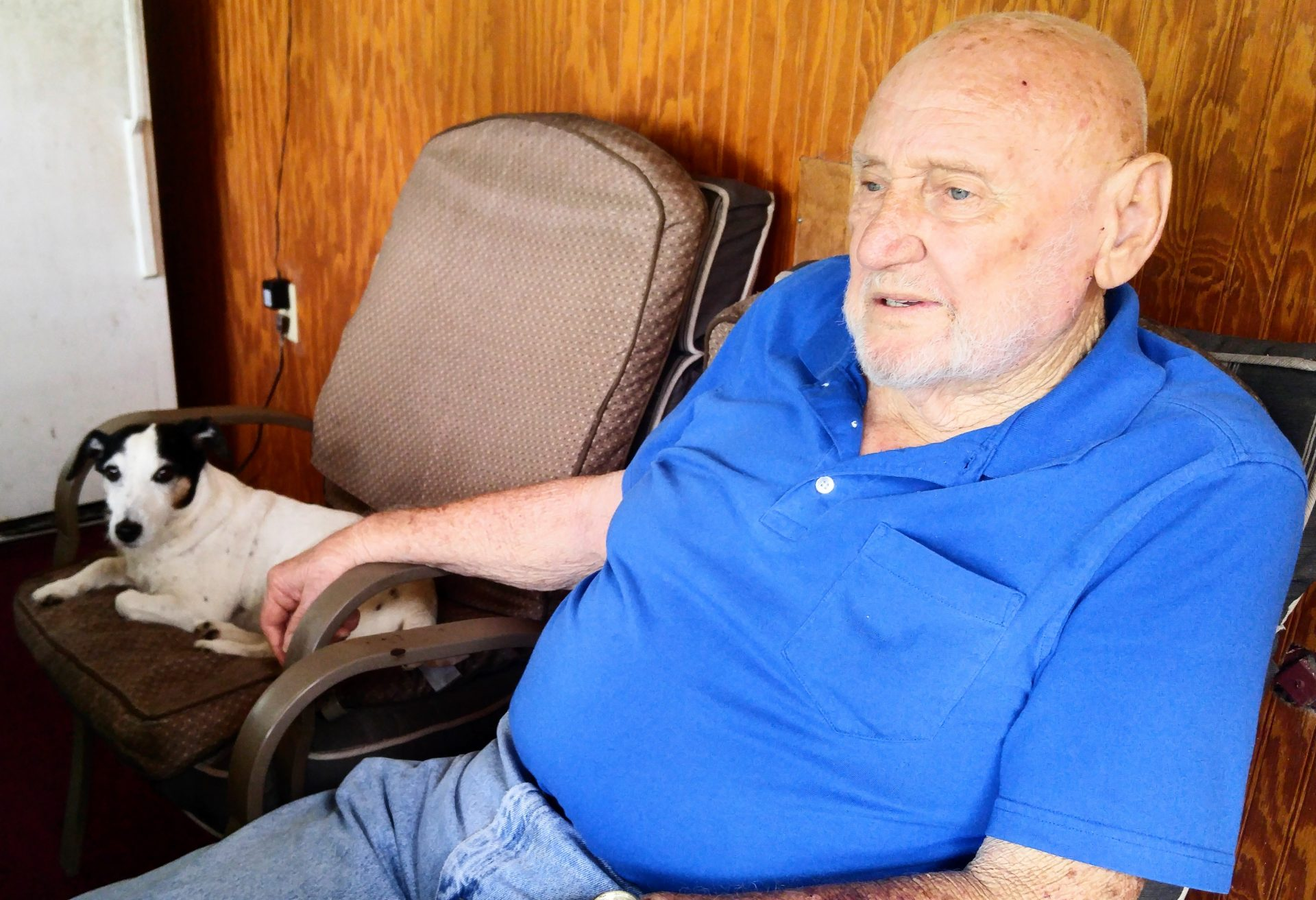 Dad always looked out over the pasture as Jackie layed beside him in Jackie's chair.