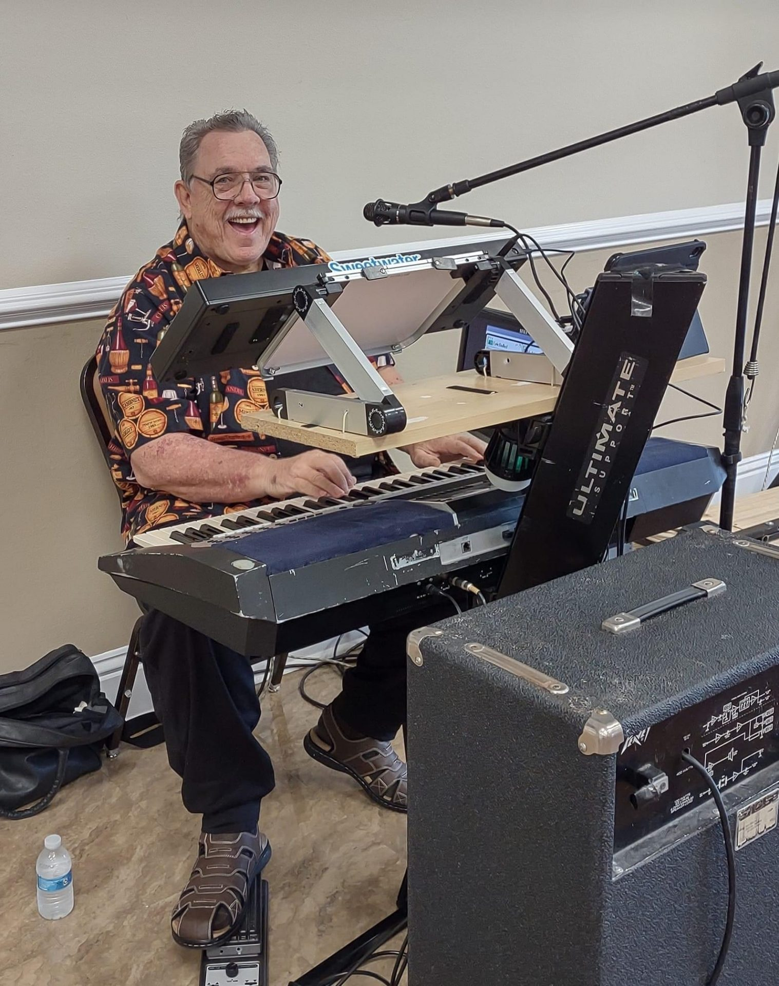My last picture of Frank, he was in his happy place, playing music.<br /> You will be missed, love you!
