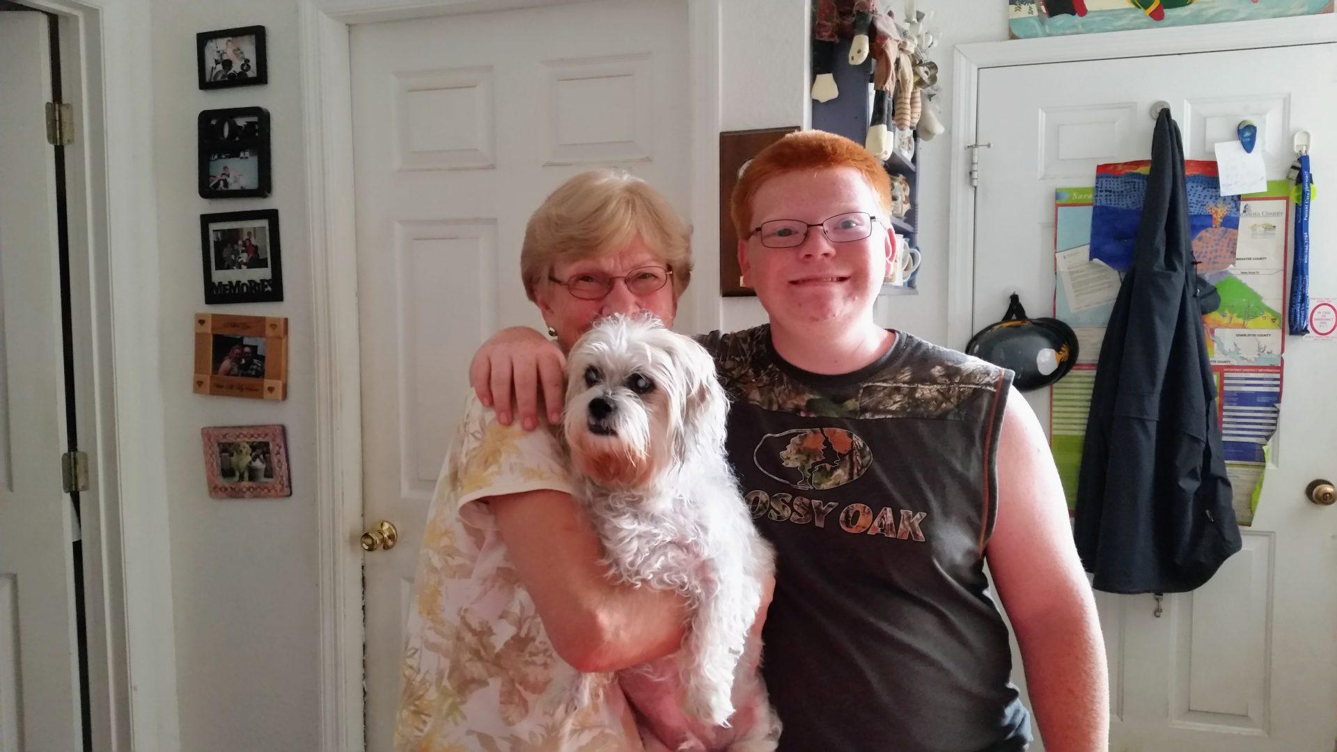 Scott, Elliott and Nana at our home