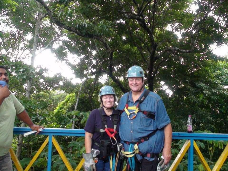 Yes! He went ziplining! <br /> This was in Honduras